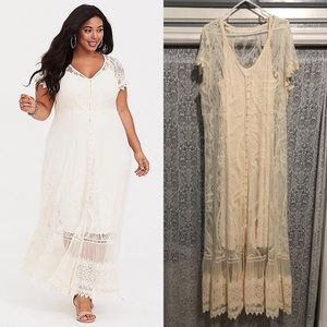 Ivory Embroidered Lace Maxi Dress